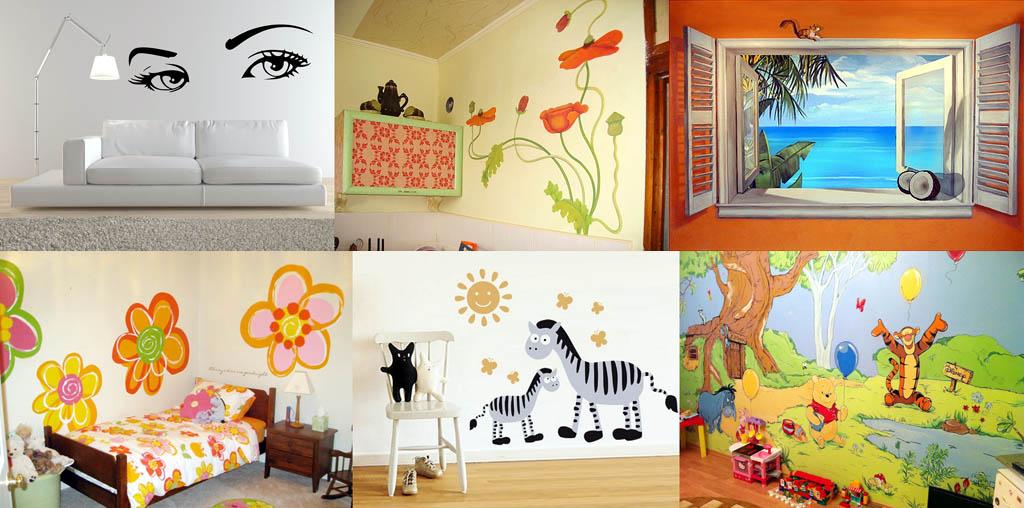 Рисунки на стене в квартире фото своими руками трафарет